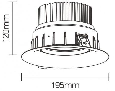 Downlight Meat orientable 42W Rouge Rose ø195 mm / enc 180mm